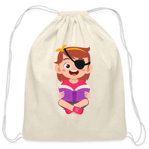 Little girl with eye patch - Cotton Drawstring Bag