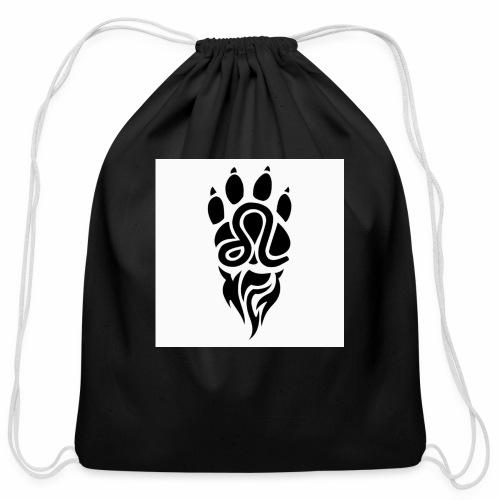 Black Leo Zodiac Sign - Cotton Drawstring Bag