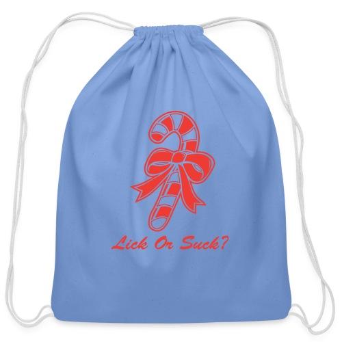 Lick Or Suck Candy Cane - Cotton Drawstring Bag