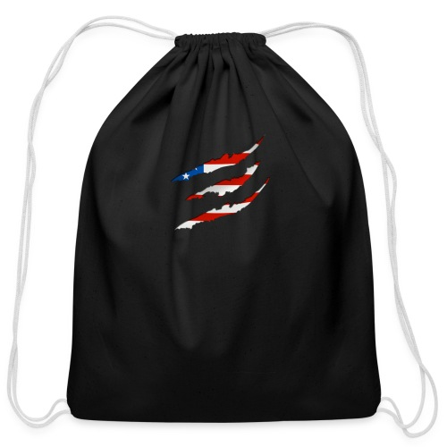 3D American Flag Claw Marks T-shirt for Men - Cotton Drawstring Bag