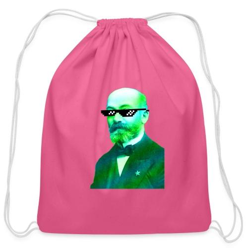 Green and Blue Zamenhof - Cotton Drawstring Bag