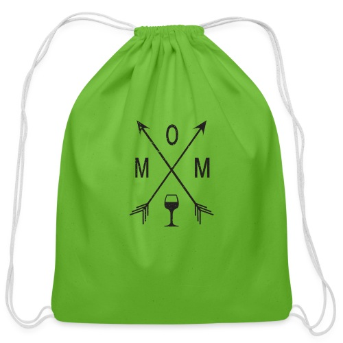 Mom Loves Wine (black ink) - Cotton Drawstring Bag