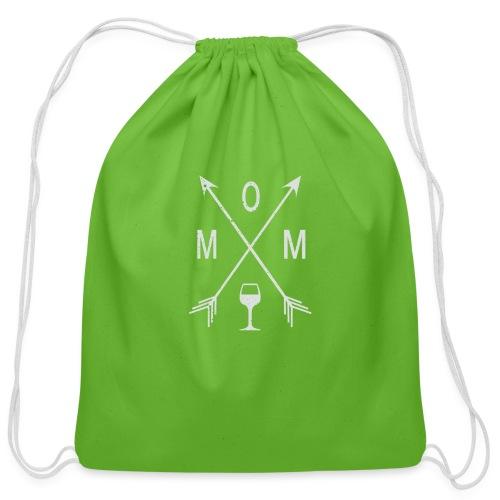 Mom Wine Time - Cotton Drawstring Bag