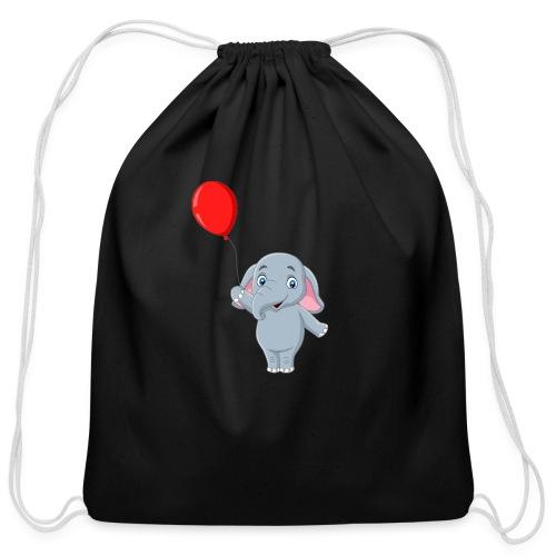 Baby Elephant Holding A Balloon - Cotton Drawstring Bag
