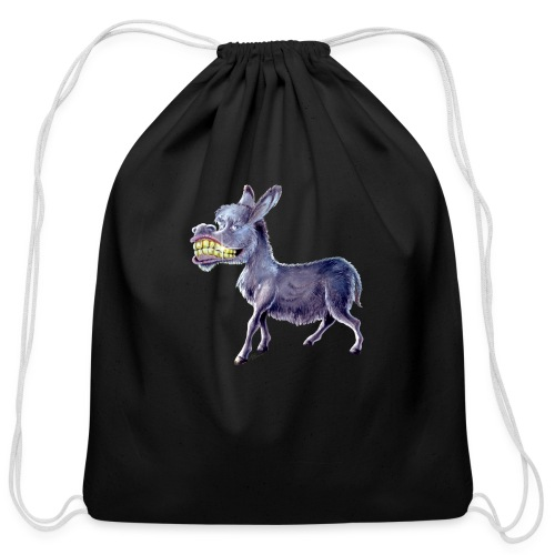 Funny Keep Smiling Donkey - Cotton Drawstring Bag