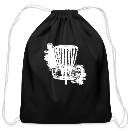 Disc Golf Basket White Print - Cotton Drawstring Bag