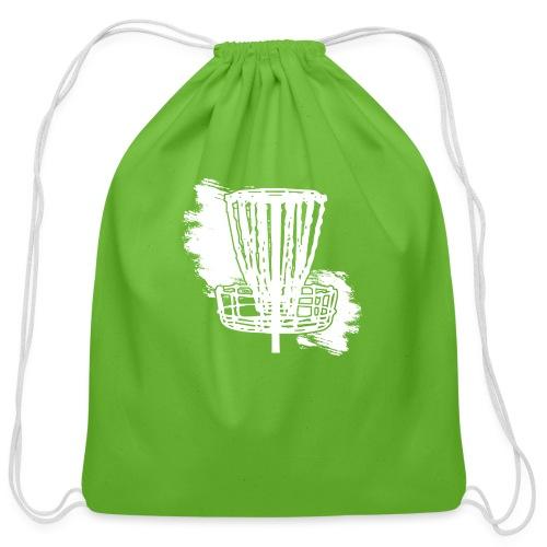 Disc Golf Basket White Print - Cotton Drawstring Bag