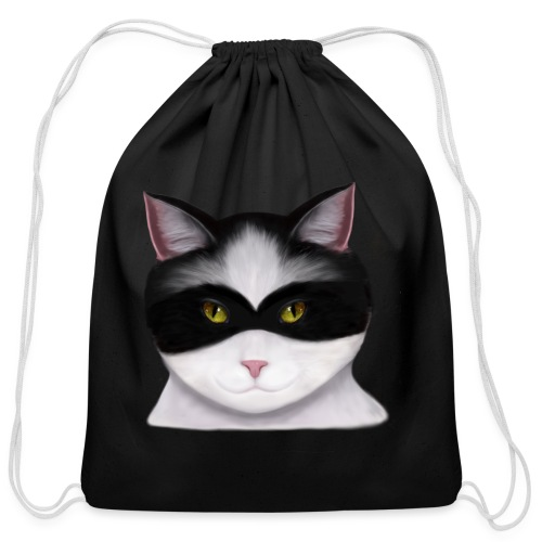 I am called the Masked Cat - Cotton Drawstring Bag