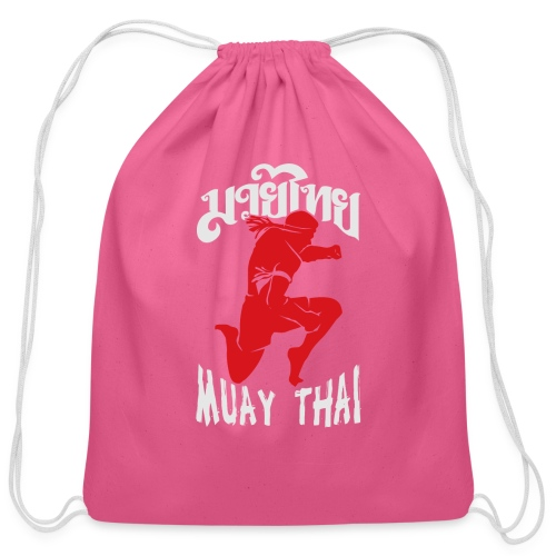Muay thai flying knee kick - Cotton Drawstring Bag