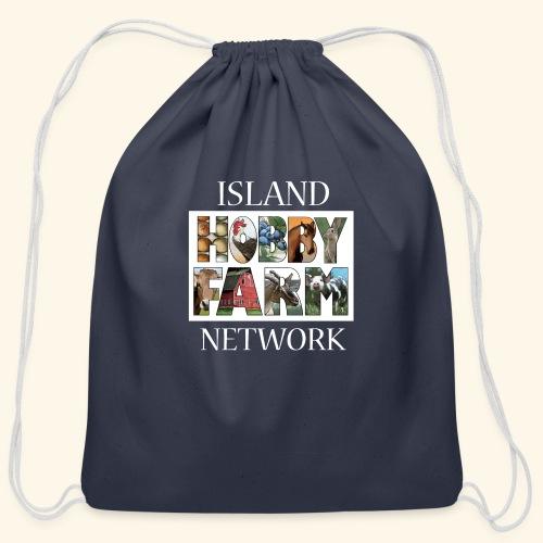 Island Hobby Farm White Logo - Cotton Drawstring Bag