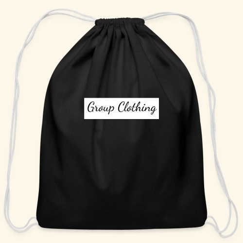 Cursive Black and White Hoodie - Cotton Drawstring Bag
