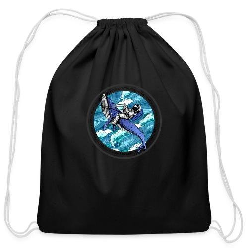 Astronaut Whale - Cotton Drawstring Bag