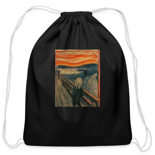 The Scream (Textured) by Edvard Munch - Cotton Drawstring Bag