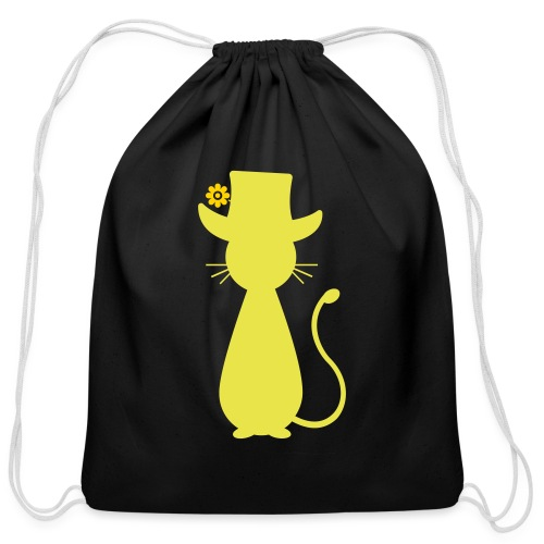 Cats - a Cat with a Hat - Cotton Drawstring Bag