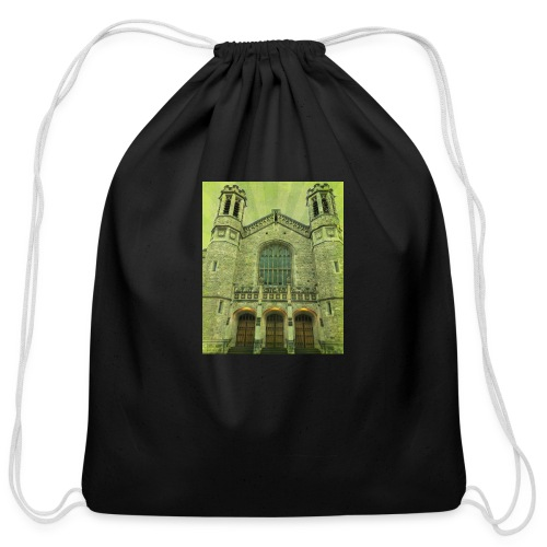 Green gothic cathedral - Cotton Drawstring Bag
