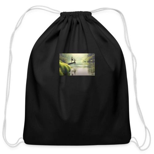 fishing - Cotton Drawstring Bag