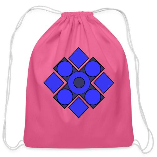 Geometric Cerulean - Cotton Drawstring Bag