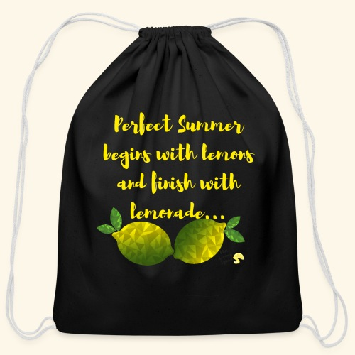 Perfect Summer begins with lemons and finish with - Cotton Drawstring Bag