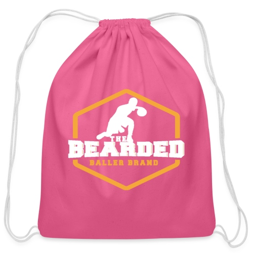 The Bearded Baller Brand White and Gold - Cotton Drawstring Bag