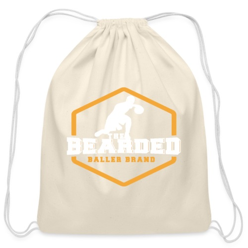 The Bearded Baller Brand White and Gold - Cotton Drawstring Bag