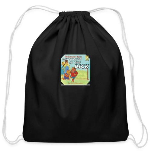 kicked in the dick - Cotton Drawstring Bag