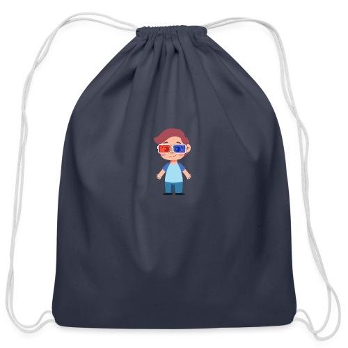 Boy with eye 3D glasses - Cotton Drawstring Bag