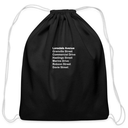 Street Names White Text - Cotton Drawstring Bag