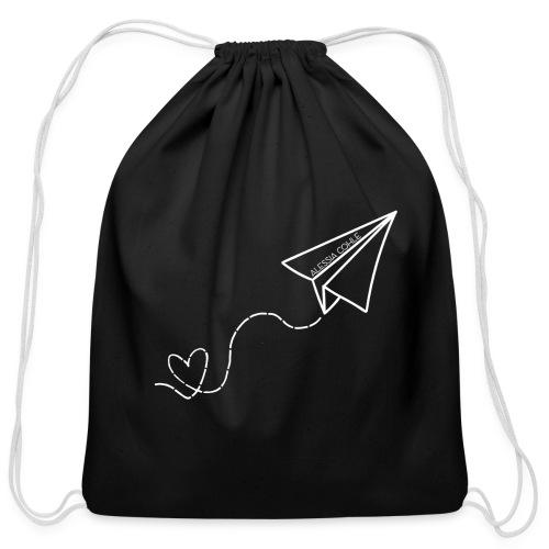 Travel - Paper Plane w/ Heart (white) - Cotton Drawstring Bag