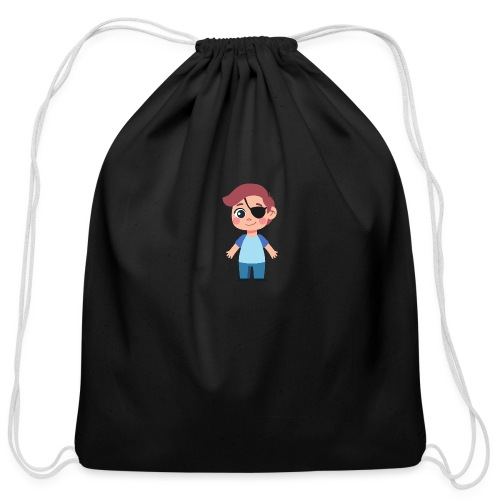 Boy with eye patch - Cotton Drawstring Bag