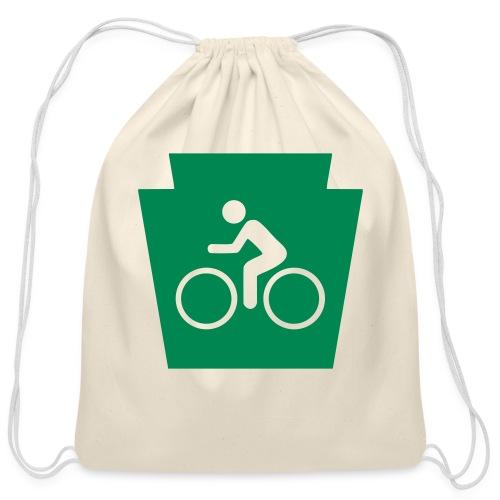 PA Keystone w/Bike (bicycle) - Cotton Drawstring Bag