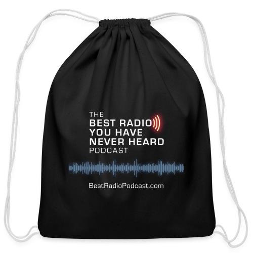 One sided white logo/URL blue wave - Cotton Drawstring Bag