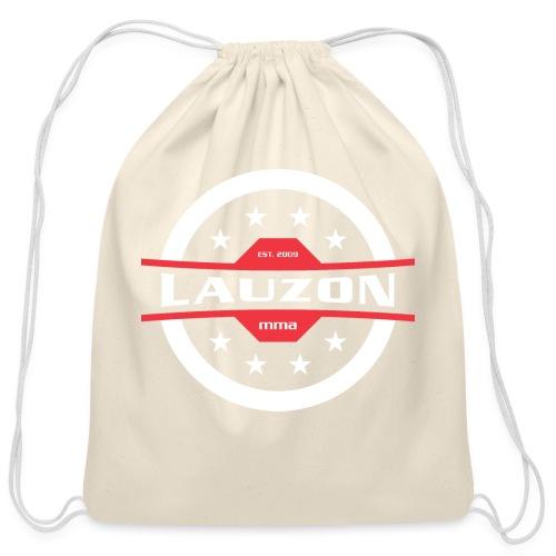 White on Black Lauzon MMA Logo w No Words - Cotton Drawstring Bag