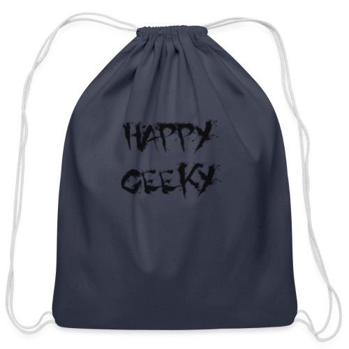Happy_Geeky_-_Logo_Black - Cotton Drawstring Bag