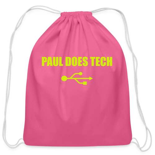 Paul Does Tech Logo Yellow With USB (BS) - Cotton Drawstring Bag