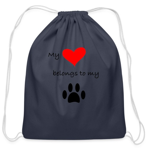 Dog Lovers shirt - My Heart Belongs to my Dog - Cotton Drawstring Bag