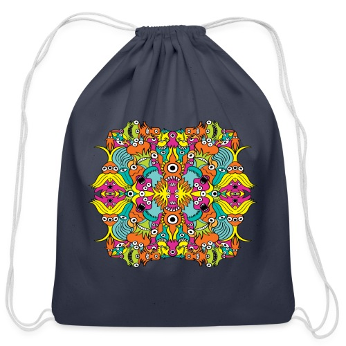 Aquatic monsters in a pattern in doodle art style - Cotton Drawstring Bag