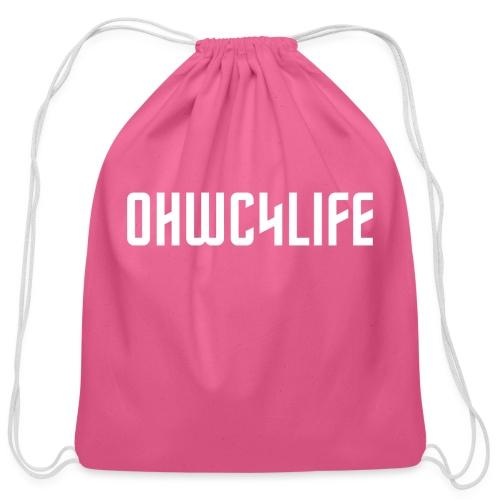 OHWC4LIFE text WH-NO-BG - Cotton Drawstring Bag