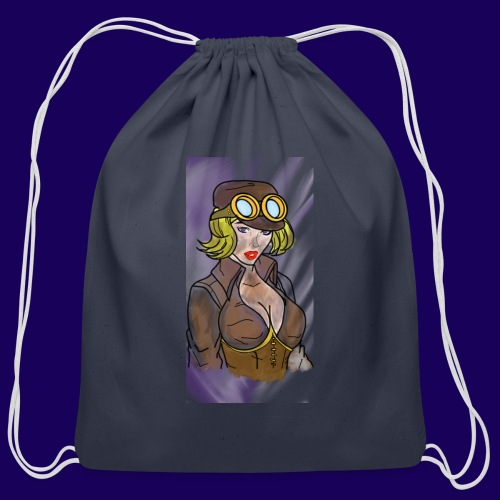 Steampunk girl - Cotton Drawstring Bag
