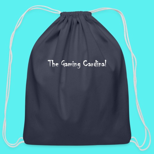 white logo text - Cotton Drawstring Bag