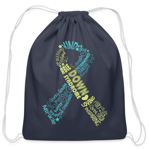 Down syndrome Ribbon Wordle - Cotton Drawstring Bag