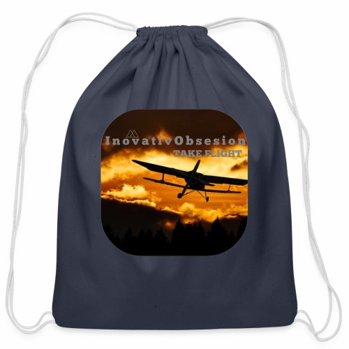 "InovativObsesion ""TAKE FLIGHT"" apparel - Cotton Drawstring Bag"
