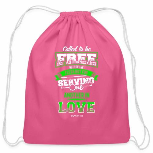 Galatian Free in Love - Cotton Drawstring Bag