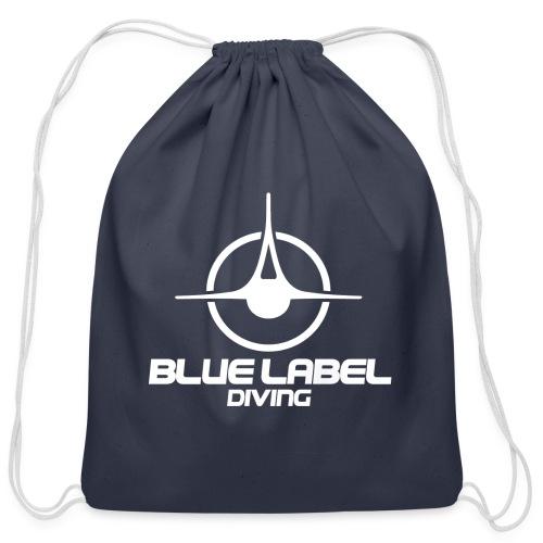 BLD logo with text white - Cotton Drawstring Bag