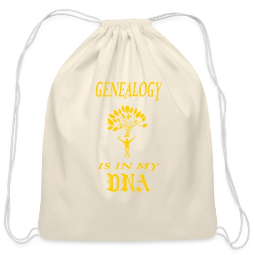 genealogy is in my dna funny birthday gift yellow - Cotton Drawstring Bag