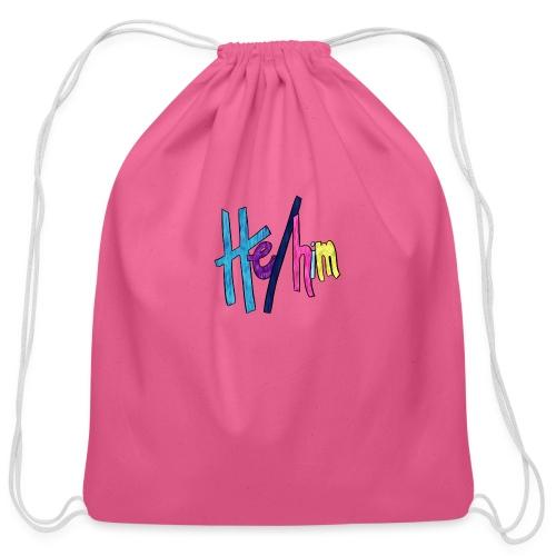 He/Him 1 - Small (Nametag) - Cotton Drawstring Bag
