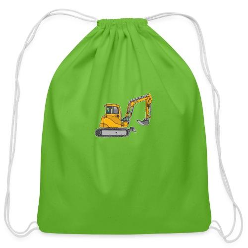 Yellow digger, excavators - Cotton Drawstring Bag