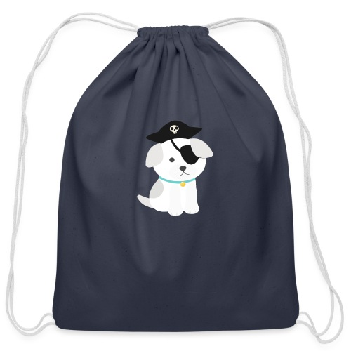 Dog with a pirate eye patch doing Vision Therapy! - Cotton Drawstring Bag