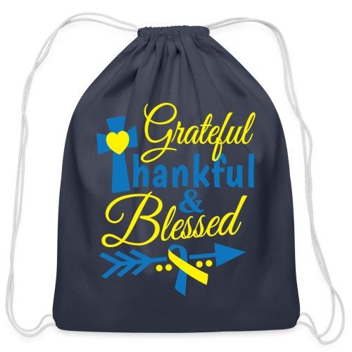 Grateful, Thankful & Blessed - Cotton Drawstring Bag
