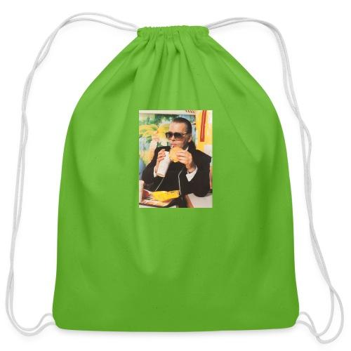 Karl Lagerfeld Eating a McDonald's Cheeseburger - Cotton Drawstring Bag