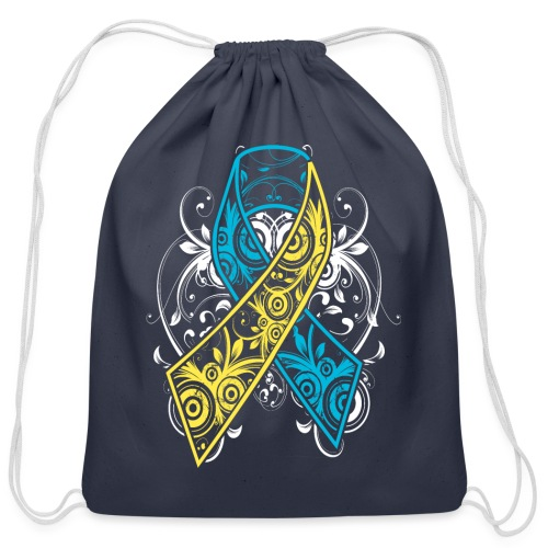 Down syndrome Ribbon - Cotton Drawstring Bag